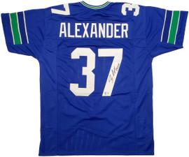 Seattle Seahawks Shaun Alexander Autographed Blue Jersey Beckett BAS Stock #197073