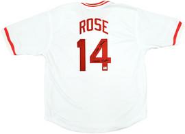 "Cincinnati Reds Pete Rose Autographed White Jersey ""Charlie Hustle"" PR Holo Stock #197082"
