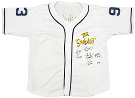 The Sandlot Cast Autographed White Jersey With 5 Signatures MCS Holo Stock #197083