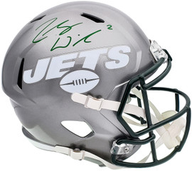 Zach Wilson Autographed New York Jets Flash Silver Full Size Replica Speed Helmet Beckett BAS QR Stock #197084
