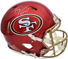 Trey Lance Autographed San Francisco 49ers Flash Red Full Size Authentic Speed Helmet Beckett BAS QR Stock #197091