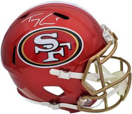 Trey Lance Autographed San Francisco 49ers Flash Red Full Size Replica Speed Helmet Beckett BAS QR Stock #197092