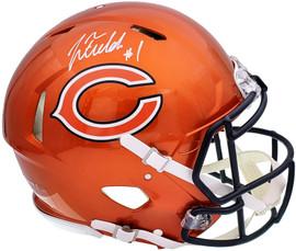 Justin Fields Autographed Chicago Bears Flash Orange Full Size Authentic Speed Helmet Beckett BAS QR Stock #197094