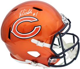 Justin Fields Autographed Chicago Bears Flash Orange Full Size Replica Speed Helmet Beckett BAS QR Stock #197095
