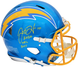 """Justin Herbert Autographed Los Angeles Chargers Flash Blue Full Size Authentic Speed Helmet """"2020 NFL ROY"""" Beckett BAS QR Stock #197096"""
