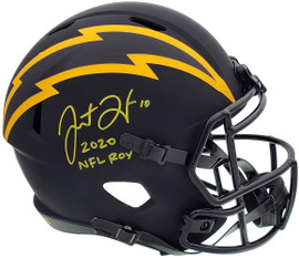 """Justin Herbert Autographed Los Angeles Chargers Eclipse Black Full Size Replica Speed Helmet """"2020 NFL ROY"""" Beckett BAS QR Stock #197101"""