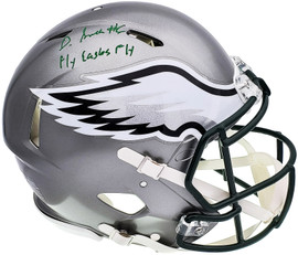 """DeVonta Smith Autographed Philadelphia Eagles Flash Silver Full Size Authentic Speed Helmet """"Fly, Eagles, Fly"""" Beckett BAS QR Stock #197109"""