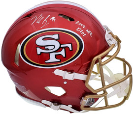 """Nick Bosa Autographed San Francisco 49ers Flash Red Full Size Authentic Speed Helmet """"2019 NFL DROY"""" Beckett BAS QR Stock #197111"""
