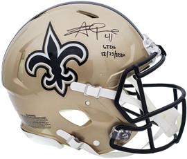 "Alvin Kamara Autographed New Orleans Saints Gold Full Size Authentic Speed Helmet ""6 TDs 12-25-2020"" Beckett BAS QR Stock #197143"