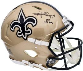 "Alvin Kamara Autographed New Orleans Saints Gold Full Size Authentic Speed Helmet ""2017 NFL ROY"" Beckett BAS QR Stock #197144"