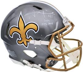 "Alvin Kamara Autographed New Orleans Saints Flash Silver Full Size Authentic Speed Helmet ""2017 NFL ROY"" Beckett BAS QR Stock #197145"