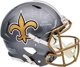 "Alvin Kamara Autographed New Orleans Saints Flash Silver Full Size Authentic Speed Helmet ""6 TDs 12-25-2020"" Beckett BAS QR Stock #197146"