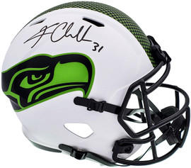 Kam Chancellor Autographed Seattle Seahawks Lunar Eclipse White Full Size Replica Speed Helmet MCS Holo Stock #197178