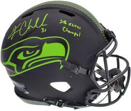 "Kam Chancellor Autographed Seattle Seahawks Eclipse Black Full Size Authentic Speed Helmet ""SB Champs"" MCS Holo Stock #197180"