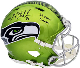 """Kam Chancellor Autographed Seattle Seahawks Flash Green Full Size Authentic Speed Helmet """"SB Champs"""" MCS Holo Stock #197182"""