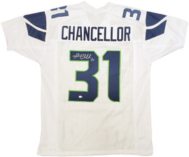 Seattle Seahawks Kam Chancellor Autographed White Jersey MCS Holo Stock #197193