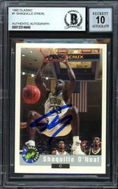 "Shaquille ""Shaq"" O'Neal Autographed 1992-93 Classic Rookie Card #1 LSU Auto Grade Gem Mint 10 Beckett BAS #13314648"