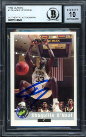 "Shaquille ""Shaq"" O'Neal Autographed 1992-93 Classic Rookie Card #1 LSU Auto Grade Gem Mint 10 Beckett BAS #13314649"