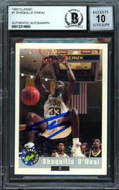 "Shaquille ""Shaq"" O'Neal Autographed 1992-93 Classic Rookie Card #1 LSU Auto Grade Gem Mint 10 Beckett BAS #13314650"