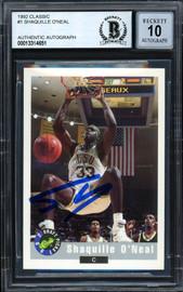 "Shaquille ""Shaq"" O'Neal Autographed 1992-93 Classic Rookie Card #1 LSU Auto Grade Gem Mint 10 Beckett BAS #13314651"