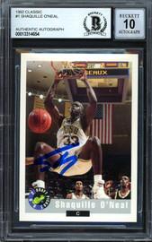 "Shaquille ""Shaq"" O'Neal Autographed 1992-93 Classic Rookie Card #1 LSU Auto Grade Gem Mint 10 Beckett BAS #13314654"