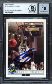 "Shaquille ""Shaq"" O'Neal Autographed 1992-93 Classic Rookie Card #1 LSU Auto Grade Gem Mint 10 Beckett BAS #13314655"