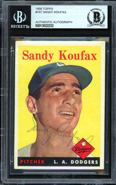 Sandy Koufax Autographed 1958 Topps Card #187 Los Angeles Dodgers Vintage 1950's Signature Beckett BAS #13022232