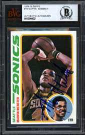 Marvin Webster Autographed 1978-79 Topps Card #19 Seattle Supersonics Beckett BAS #10009021