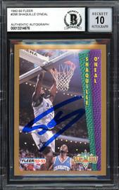 "Shaquille ""Shaq"" O'Neal Autographed 1992-93 Fleer Rookie Card #298 Orlando Magic Beckett BAS #13314676"