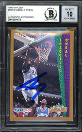 "Shaquille ""Shaq"" O'Neal Autographed 1992-93 Fleer Rookie Card #298 Orlando Magic Beckett BAS #13314673"