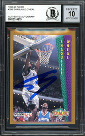 "Shaquille ""Shaq"" O'Neal Autographed 1992-93 Fleer Rookie Card #298 Orlando Magic Beckett BAS #13314675"