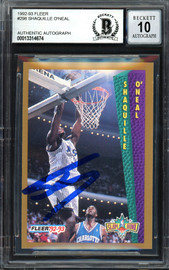 "Shaquille ""Shaq"" O'Neal Autographed 1992-93 Fleer Rookie Card #298 Orlando Magic Beckett BAS #13314674"
