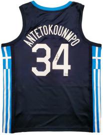 Team Greece Giannis Antetokounmpo Autographed Blue Nike Jersey Size XL Beckett BAS QR Stock #197443