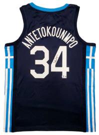 Team Greece Giannis Antetokounmpo Autographed Blue Nike Jersey Size L Beckett BAS QR Stock #197444