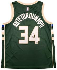Milwaukee Bucks Giannis Antetokounmpo Autographed Green Nike Jersey Size XL Beckett BAS QR Stock #197446