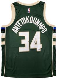 Milwaukee Bucks Giannis Antetokounmpo Autographed Green Nike Jersey Size L Beckett BAS QR Stock #197447