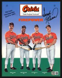 Frank Robinson Autographed Game Program Baltimore Orioles Slight Smudging Beckett BAS Stock #197449