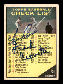 Frank Crosetti & Gene Freese Autographed 1961 Topps Checklist Card #437 SKU #197848