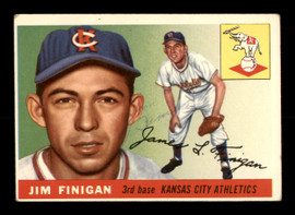 Jim Finigan Autographed 1955 Topps Rookie Card #14 Kansas City A's SKU #198344