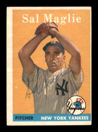 Sal Maglie Autographed 1958 Topps Card #43 New York Yankees SKU #198608