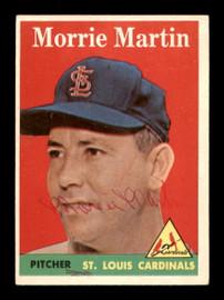 Morrie Martin Autographed 1958 Topps Card #53 St. Louis Cardinals SKU #198611