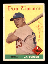 Don Zimmer Autographed 1958 Topps Card #77 Los Angeles Dodgers SKU #198619