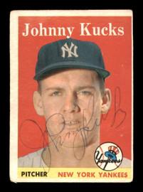 Johnny Kucks Autographed 1958 Topps Card #87 New York Yankees SKU #198621
