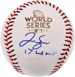 """George Springer Autographed Official 2017 World Series Baseball Houston Astros """"17 WS MVP"""" Beckett BAS #WC76021"""