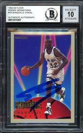 "Shaquille ""Shaq"" O'Neal Autographed 1993-94 Fleer Rookie Sensations Card #18 Orlando Magic Auto Grade Gem Mint 10 Beckett BAS #13315307"