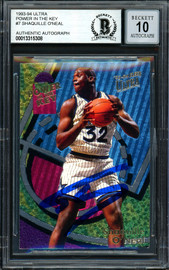 "Shaquille ""Shaq"" O'Neal Autographed 1993-94 Fleer Ultra Power In The Key Card #7 Orlando Magic Auto Grade Gem Mint 10 Beckett BAS #13315308"