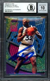 "Shaquille ""Shaq"" O'Neal Autographed 1993-94 Fleer Ultra Power In The Key Card #7 Orlando Magic Auto Grade Gem Mint 10 Beckett BAS #13315311"