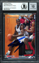 "Shaquille ""Shaq"" O'Neal Autographed 1993-94 Hoops Supreme Court Card #SC4 Orlando Magic Auto Grade Gem Mint 10 Beckett BAS #13315314"