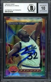 "Shaquille ""Shaq"" O'Neal Autographed 1993-94 Topps Finest Card #3 Orlando Magic Auto Grade Gem Mint 10 Beckett BAS #13315318"