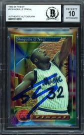 "Shaquille ""Shaq"" O'Neal Autographed 1993-94 Topps Finest Card #3 Orlando Magic Auto Grade Gem Mint 10 Beckett BAS #13315319"